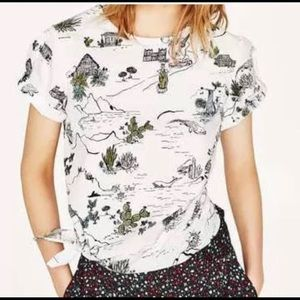 Zara Cactus Travel Print Cotton Top with side Tie